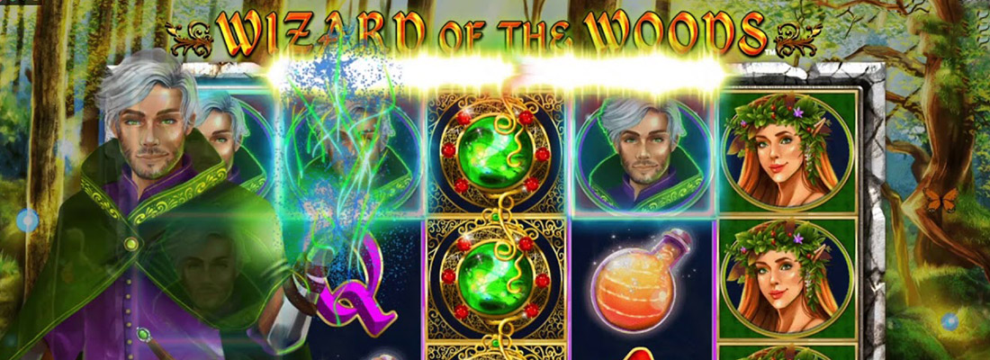 wizard of the woods slot game banner